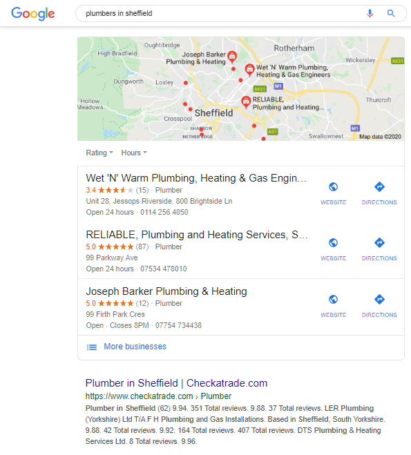 Local SEO Plumbing in Sheffield Search