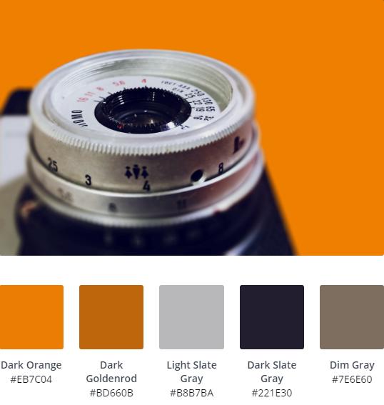 Orange Webdesign Colour Palette