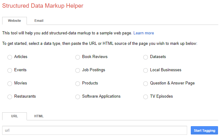 Google Structured Data Markup Tool