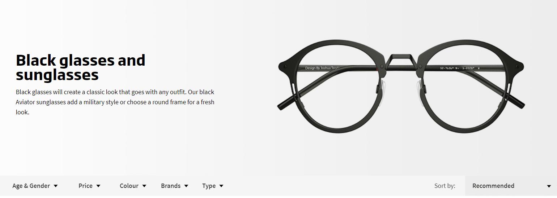 Black Framed Sunglasses Google Page One Listing