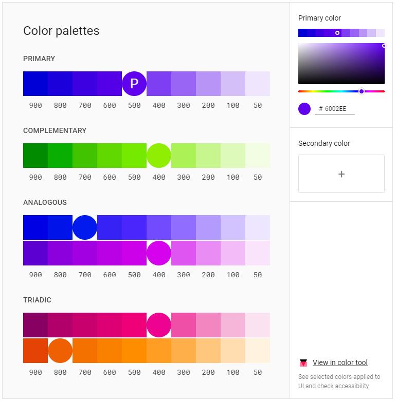 Google Flat Design Colour Scheme