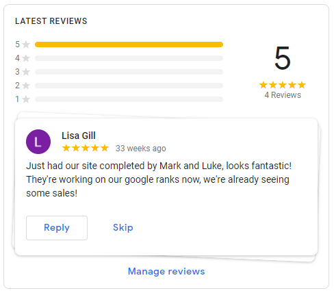 Google My Business Reviews Example